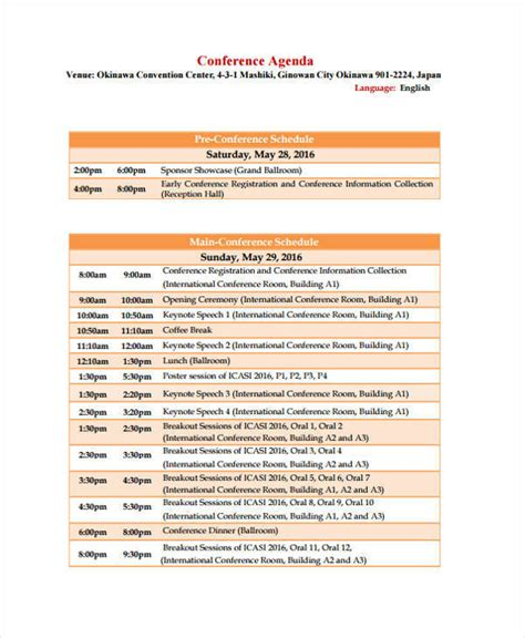 11 Conference Agenda Templates Pdf Sle Templates Retreat Schedule Template
