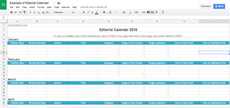 30 Days Worth Of Advice To Improve Your Social Media Presence Editorial Calendar Template