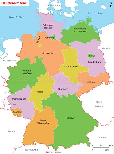 germany state map map of german province map of german province