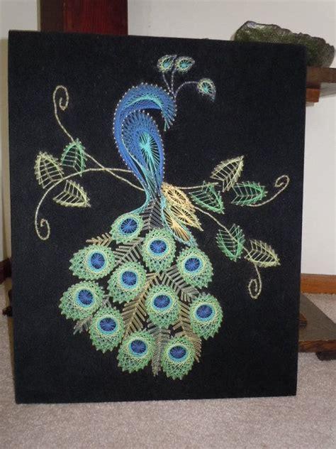 String Peacock Pattern - vintage peacock string wall hanging decor velvet
