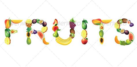 fruit 3 letter words fruits word vector illustration graphicriver
