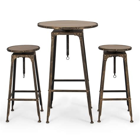 Kitchen Bar Table Set Pub Table Set 3 Bar Adjustable Height Stools Bistro Indoor Kitchen Dining Ebay