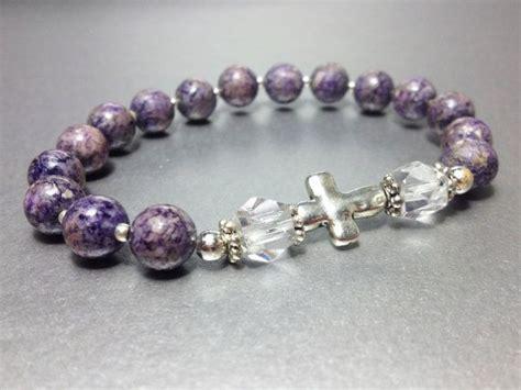 christian bead bracelet purple jasper prayer bead bracelet christian and catholic