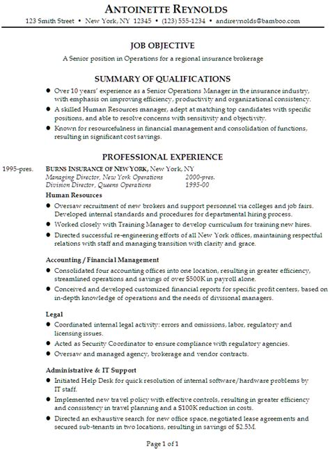 Listing Job Experience On Resume by Resume Senior Manager Operations For Insurance Brokerage