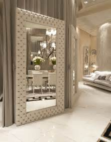 Home Interiors Mirrors luxe italian designer tufted leather floor mirror custom