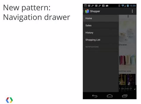 design guidelines navigation drawer material design navigation drawer iii navigating androidpub