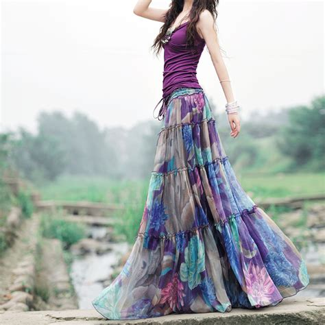 aliexpress buy 2017 summer boho skirts womens high waist purple floral printed pleated