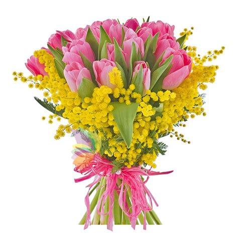 bouquet mimosa e fiori foto bouquet con tulipani rosa e mimosa spediamo fiori dolci