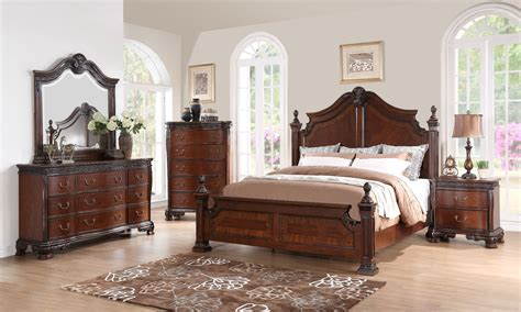 Mahogany Bed Set with Elsa Mahogany Poster Bedroom Set From New Classics B1404 310 320 330 Coleman Furniture