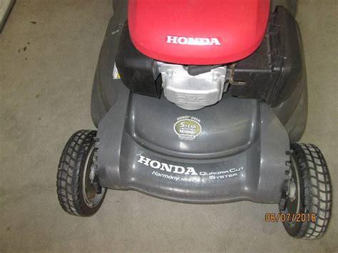 honda harmony hrb quadra cut   propelled lawn mower  bagger runs operates le