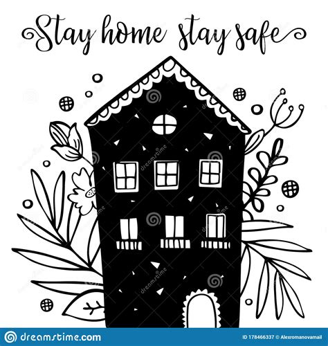 stay home stay safe illustration  hand drawn black