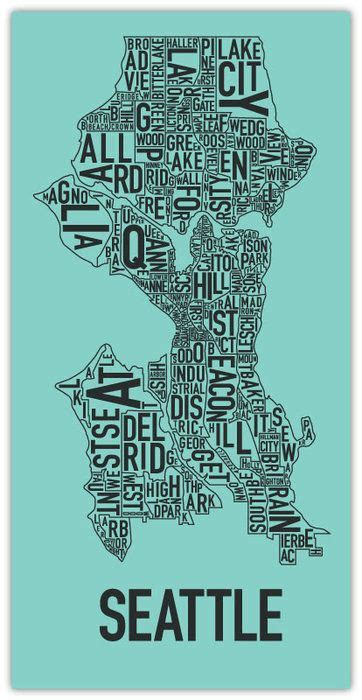seattle map poster seattle favorite places neighborhood map maps