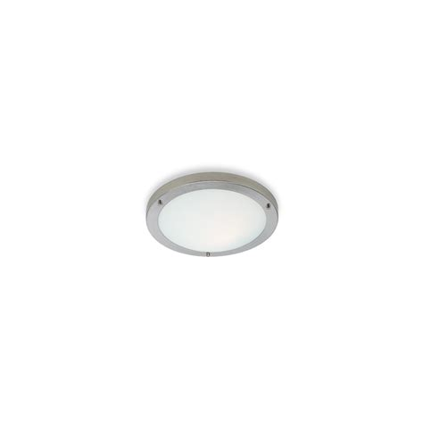 Flush Fitting Ceiling Lights Uk 3339bs Rondo Flush Fitting 16w 2d In Brushed Steel With Opal Glass