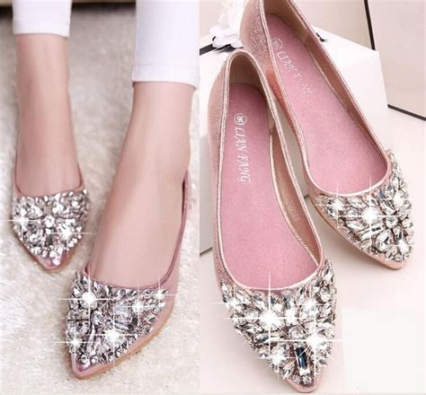 Flat Shoes Pink Silver size stock 2016 pink chagne wedding shoes silver