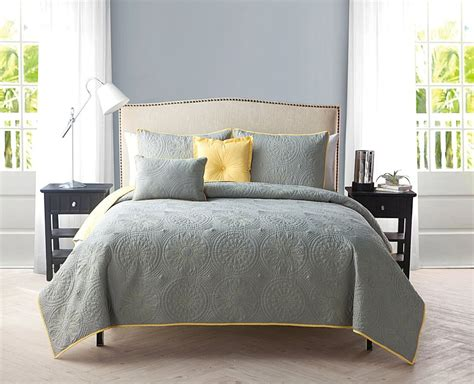 gray quilt bedding yellow and gray bedding that will make your bedroom pop