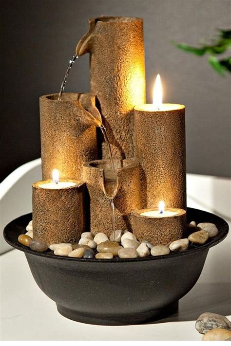 candles tabletop fountain fire  water blend