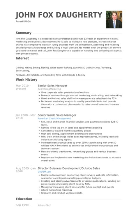senior sales manager resume sles visualcv resume