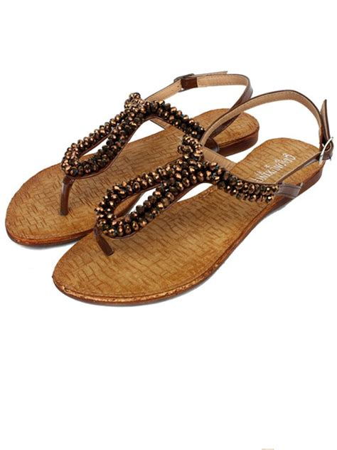 beaded flat sandals new fashion belt buckle beaded gold flat sandals