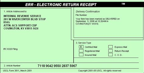 article numbers on certified mail with receipt