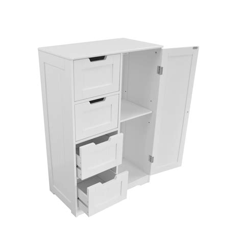 White Wooden 4 Drawer Free Standing Bathroom Cabinet Shelf Storage Unit Ebay White Wood Storage Cabinet Cupboard Bathroom Furniture Free Standing 4 Drawer Uk Ebay