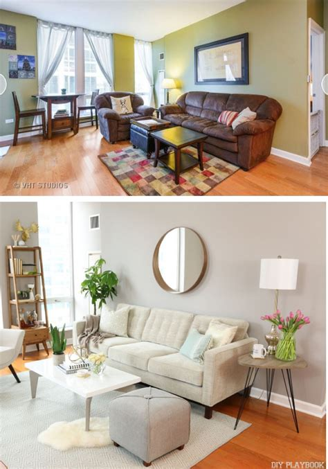 bright condo living room makeover before after new