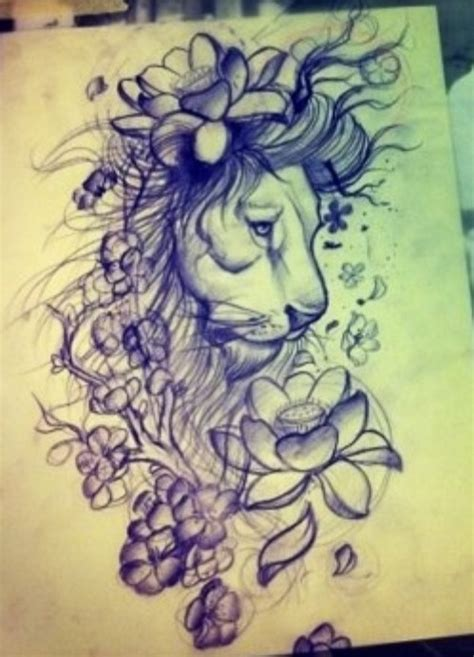 girl lion tattoo designs tattoos for grey flowers