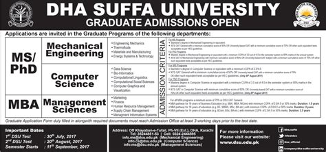 Ms Mba Admission 2017 by Graduate Admission Open At Dha Suffa 2017 Dha