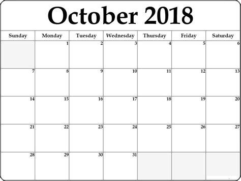 beautiful printable october 2018 calendar template business