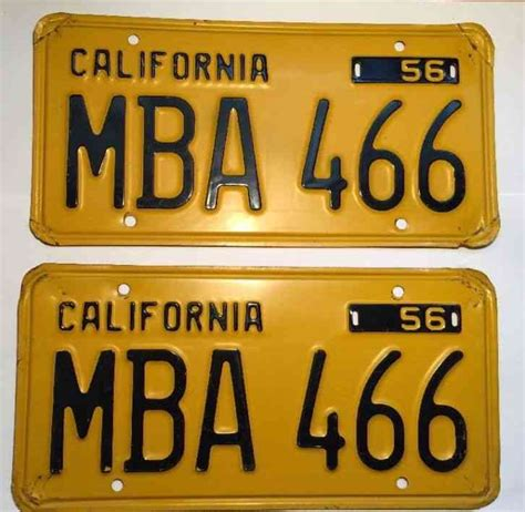 Socal Mba by Original 1956 California License Plate Pair Dmv Clear Mba
