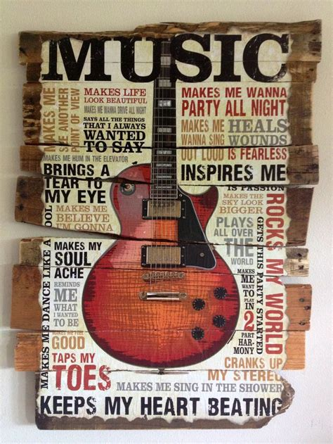 rustic music wallart guitar home decor musical