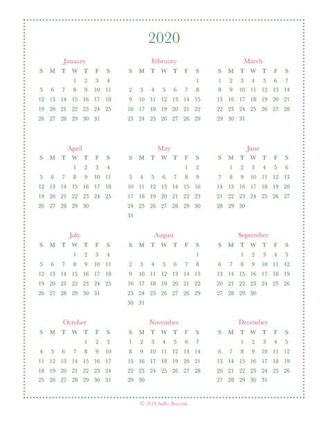 year   glance calendar  calendar