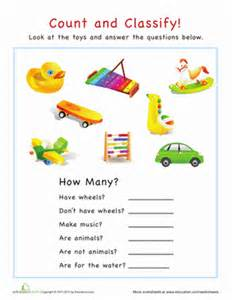categorization how many toys worksheet education com