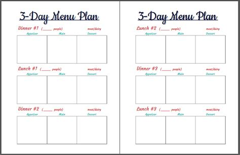 printable menu planner pages printable archives my happily hectic life