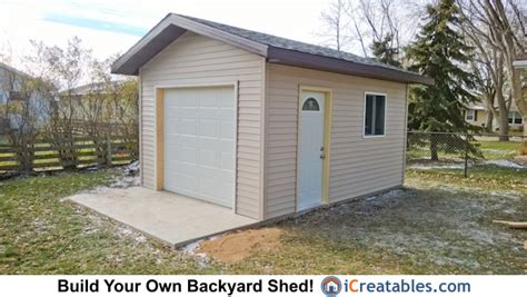 16 X 12 Garage Door by 12x16 Shed Plans With Garage Door Plans For Simple Wood