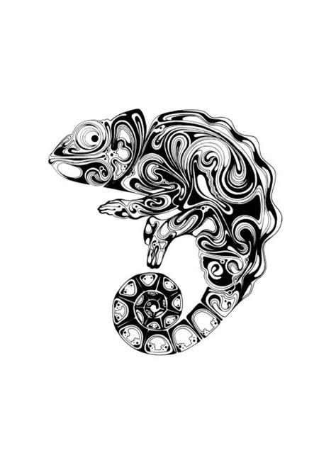 chameleon tattoo jewelry gallery wary black ink chameleon with blurred print tattoo design