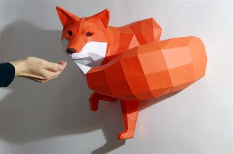 Paper Animals - diy geometric paper animal sculptures by paperwolf colossal