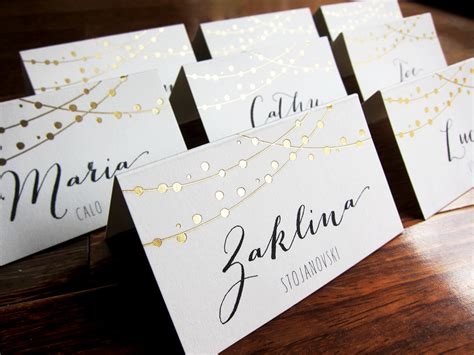 place cards fairy lights wedding place cards name place by