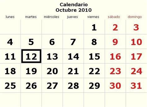 Calendario Octubre 2005 Calendario Octubre 2010 Definanzas