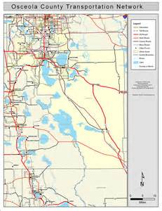 florida county map with roads osceola county road network color 2009