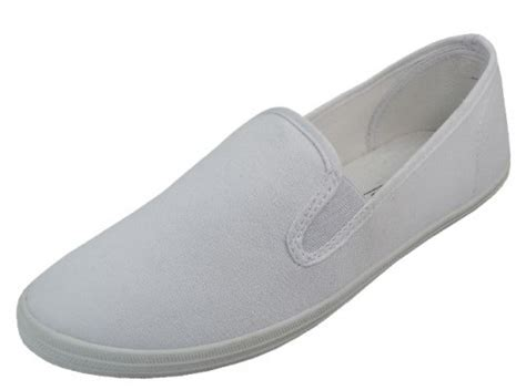wholesale s white color slip on canvas shoes size 6