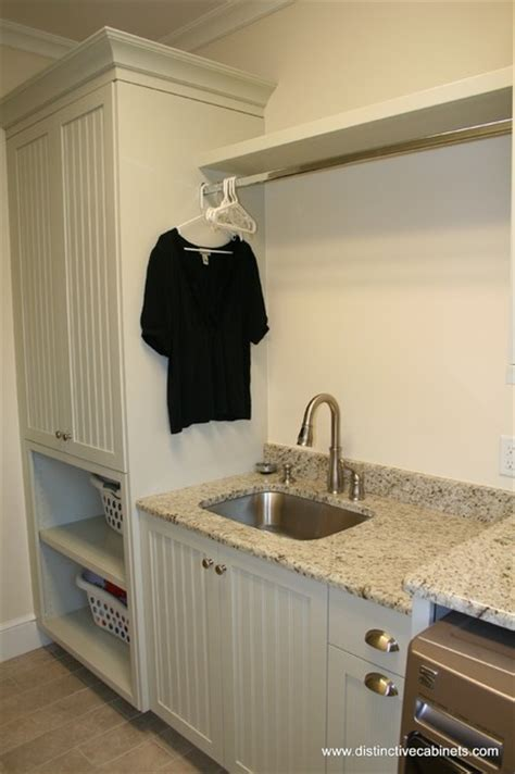 Laundry Room Shelf With Hanging Rod - distinctive cabinets llc utility rooms