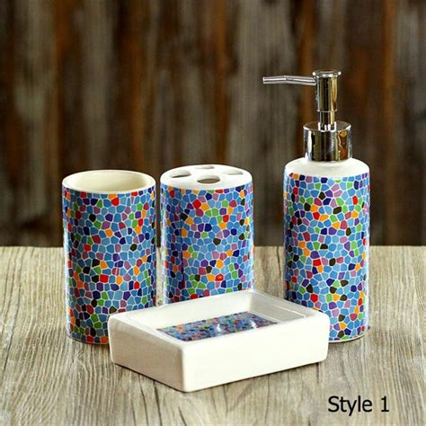 buy online bathroom accessories aliexpress com buy 4 pcs set fashion mosaics ceramic