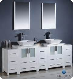 white bathroom vanities cabinets 60 quot to 84 quot torino vessel sink vanity white