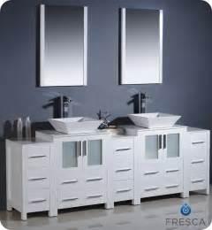 white bathroom vanities and sinks 60 quot to 84 quot torino vessel sink vanity white