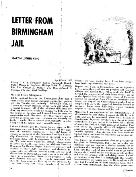 Letter From Birmingham Page One Of Letter Ned Stuckey