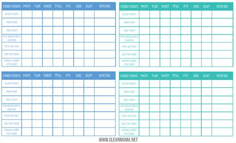 free charting free blank printable chore charts