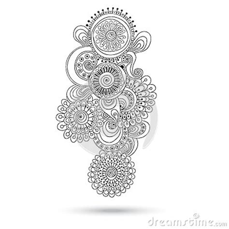 black and white henna pattern henna paisley mehndi doodles design element stock