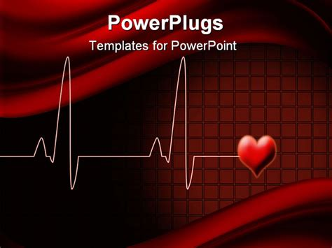 Powerpoint Template Electrocardiogram Wave Lines With Love Shape On Red Background 16098 Cardiac Powerpoint Template
