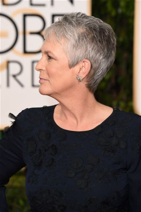 front and back view of jamie curtis hair cut jamie lee curtis golden globes 2016