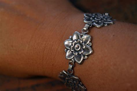 Flower Blossom Bracelet vintage blossom bracelet in sterling silver